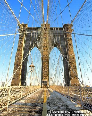 Brooklyn Bridge Tower and Cables in Winter - http://andrewprokos.com/photos/new-york/