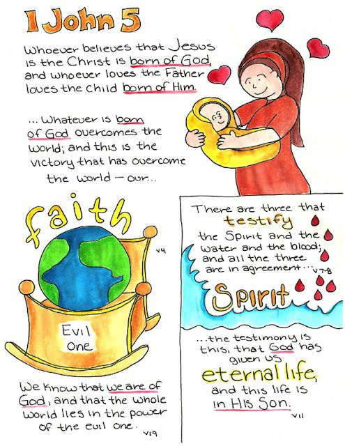 Doodle Through The Bible: 1 John 5 Free printable PDF Coloring page link at the website. Also visit the new FACEBOOK page!