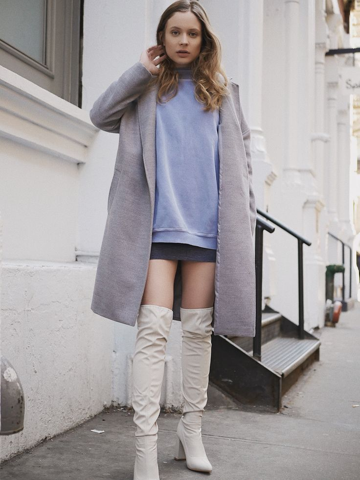 blue and gray monochrome outfit with gray coat, a blue dress, and over the knee nude boots insta: @nicolegramcko