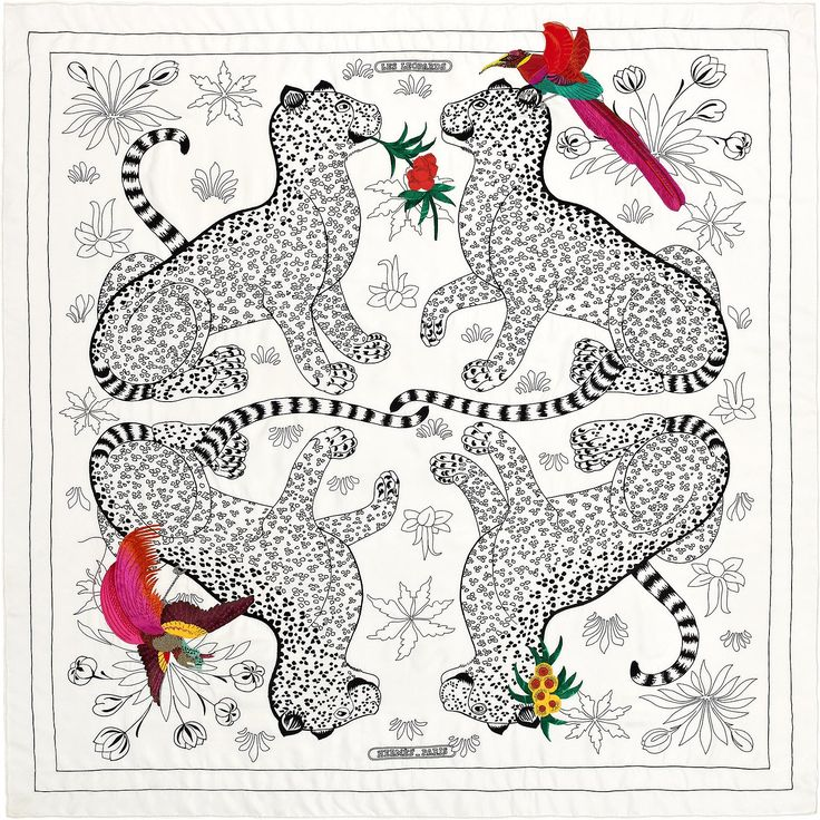 Les Léopards Oiseaux Fleuris 120x120