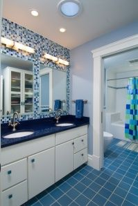 Eastern Mediterranean style bathroom blue tiles decorating effect chart