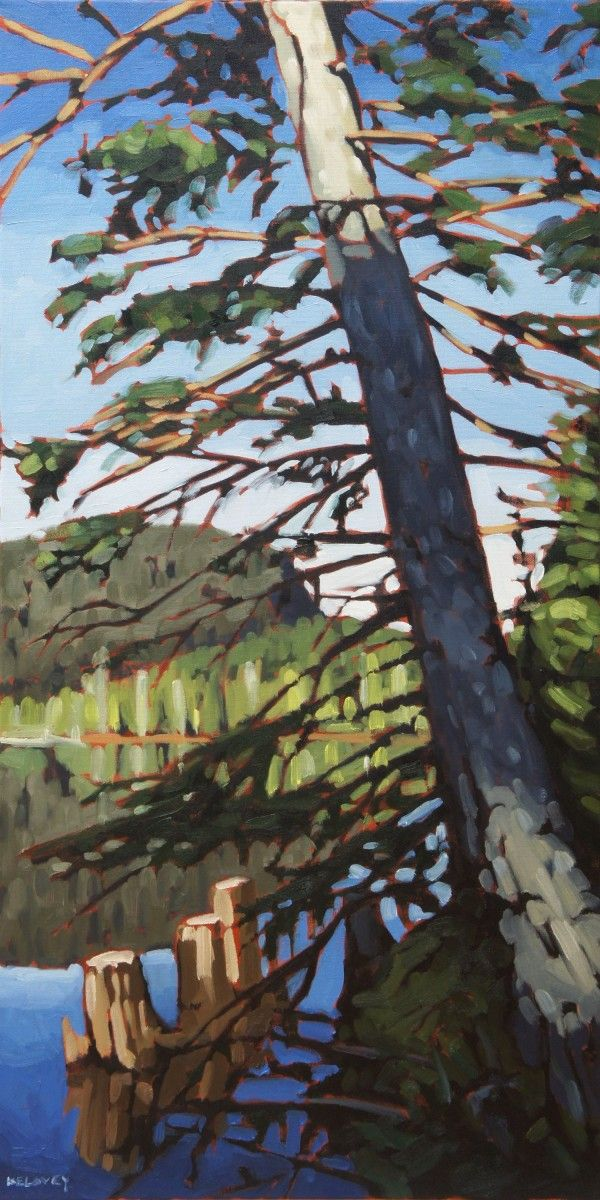 "Lakeside Pine, oil on canvas, 18"" x 36"" by David Kelavey"