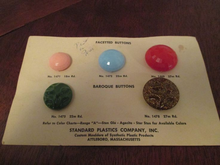 Vintage Button Display Card 1940s 5 Buttons Standard Plastics Company Attleboro, Massachusetts Sewing Collectible by StitchesAndRibbons on Etsy