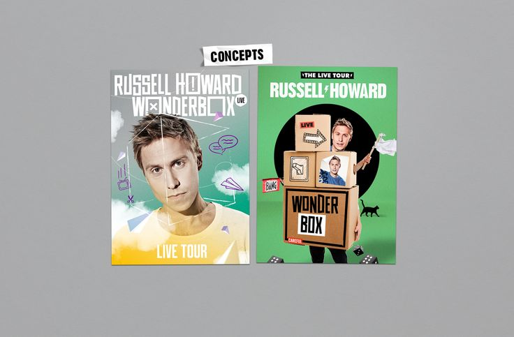 Russell Howard - Wonderbox Tour concepts Design and Art Direction - Jonny Costello ©fluidesign