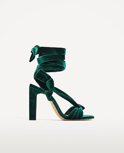 Image 2 of VELVET LACE-UP HIGH HEEL SANDALS from Zara