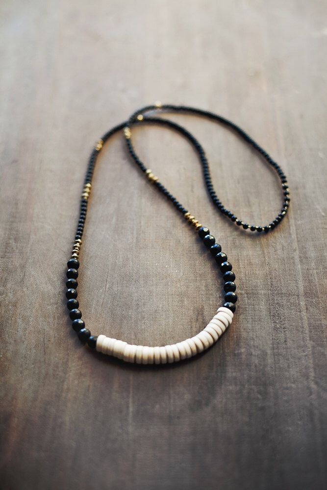 Mixed Media Boho Necklace /  Black Agate / Wood / Gold Metal by BlueBirdLab on Etsy https://www.etsy.com/listing/176558554/mixed-media-boho-necklace-black-agate
