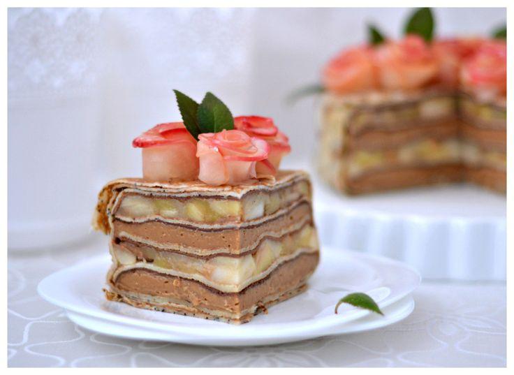 Яблочный торт с карамельным баварским муссом, пошаговый 73