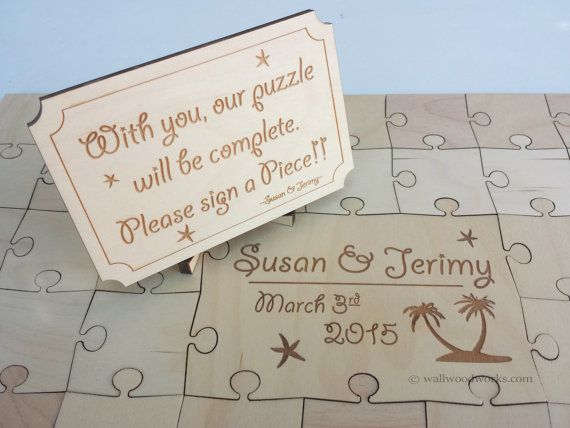 Wedding Puzzle Guest Book (Beach) 32-350 Piece Wedding, Guest Book Puzzle, Guestbook, Rustic, Alternative Wedding, Laser Cut, Engraved