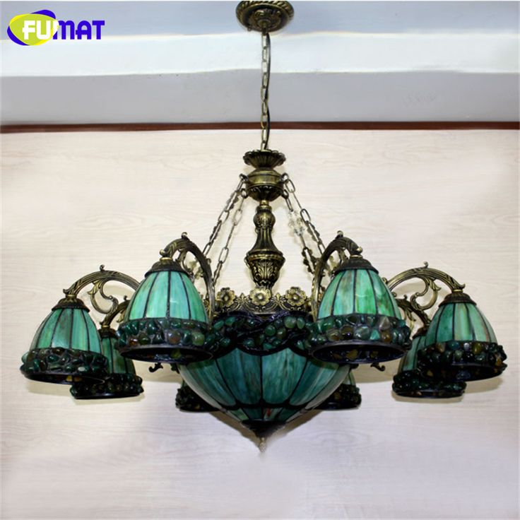 FUMAT Stained Glass Chandelier European Style Green glass Light Dining Room Lamp Living Room Light Pendientes Lustre Chandeliers-in Chandeliers from Lights & Lighting on Aliexpress.com | Alibaba Group