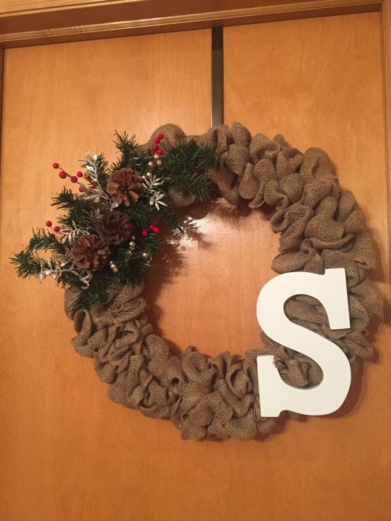Holiday Winter Burlap Wreath  --------------------  Wreath is 18 in diameter and is handmade with burlap and a mix of garland, pinecones and decorative floral pieces. ***If customizing with monogram, please notate what letter you would like and what color you would like the letter***  If its a gift for someone, Im able to write handwritten notes to them as well. Please leave a comment of what you would like written when purchasing!  Wreaths will typically ship within one to two week after…