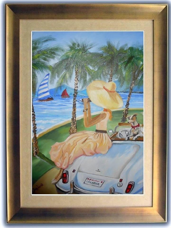 Παρακολουθώντας αγώνες ιστιοπλοΐας ελαιογραφια σε μουσαμά cm38 x55  watching sailing races cm38 x55