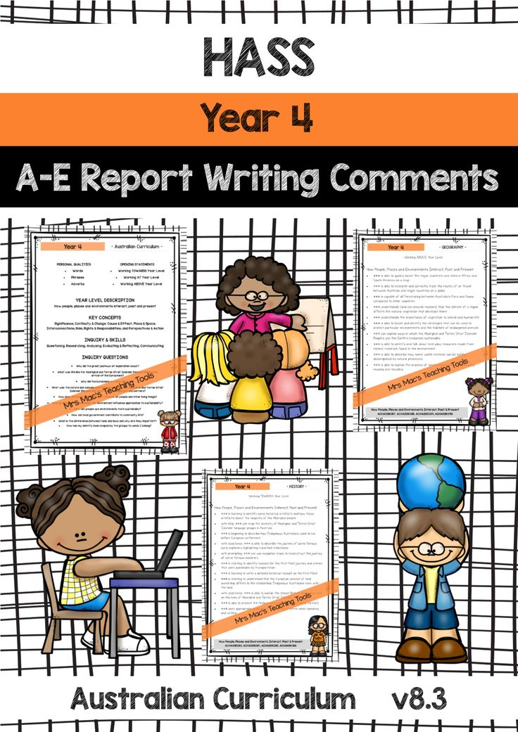 Report Writing Comments - Australian Curriculum! Reception - Year 7! NEW to Designed By Teachers & Teachers Pay Teachers! English, HASS, Science & Maths! ALL areas include statements for students: - Working TOWARDS Year Level - Working AT Year Level - Working ABOVE Year Level PERSONAL QUALITIES - Words - Phrases - Adverbs