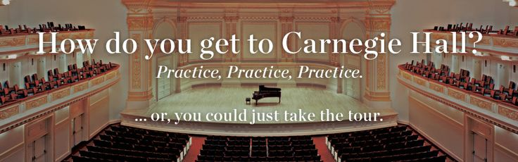 Carnegie Hall Tours (FT): REG: $10 Daily from October through late June. Public walk-in tours are offered Monday through Friday at 11:30 AM, 12:30 PM, 2 PM, and 3 PM; Saturday at 11:30 AM and 12:30 PM; and Sunday at 12:30 PM, although tours are subject to the Hall's performance and rehearsal schedule. Tours can be cancelled at any time due to changes in the Hall's schedule. Current availability is shown to the right. Please arrive early due to limited availability.