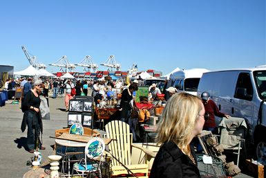 shoppers at the Alameda flea market - Marketplace