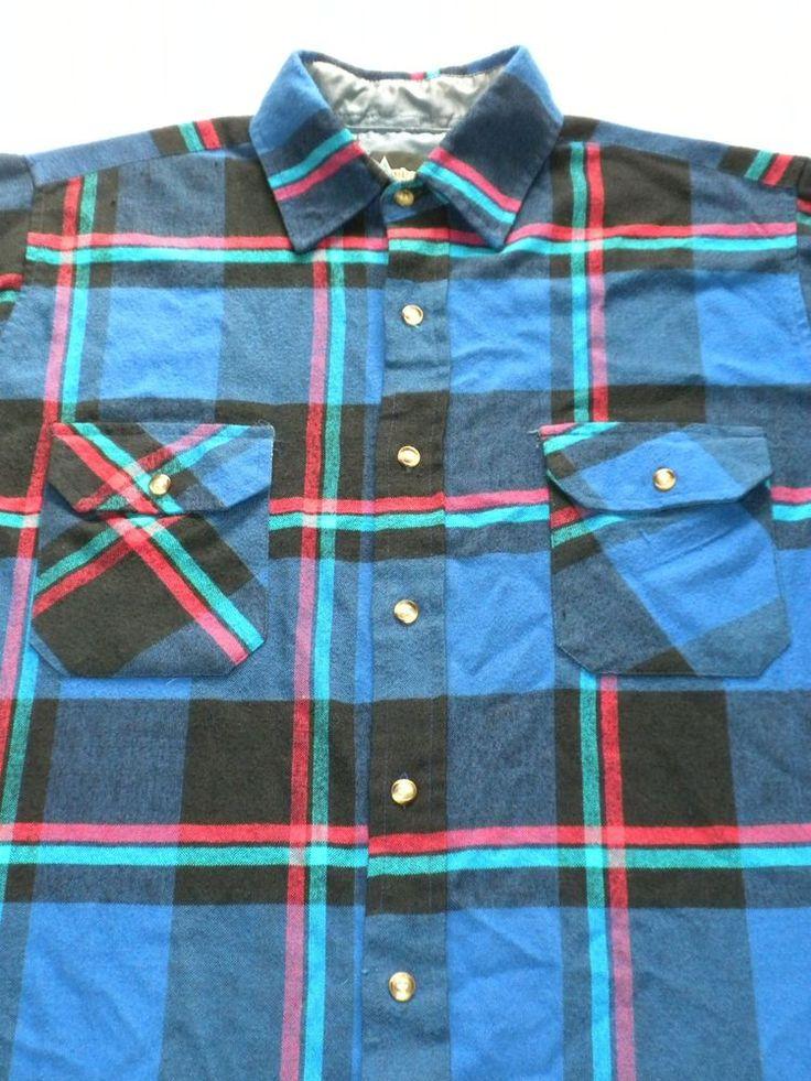80s Mens Flannel Shirt By Timber Ridge Blue Plaid Medium