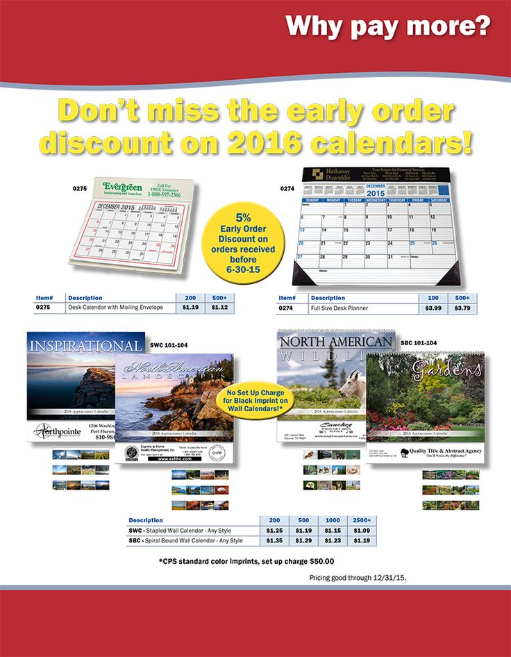The Low Price PLUS Early Order Discount on Calendars from CPS!
