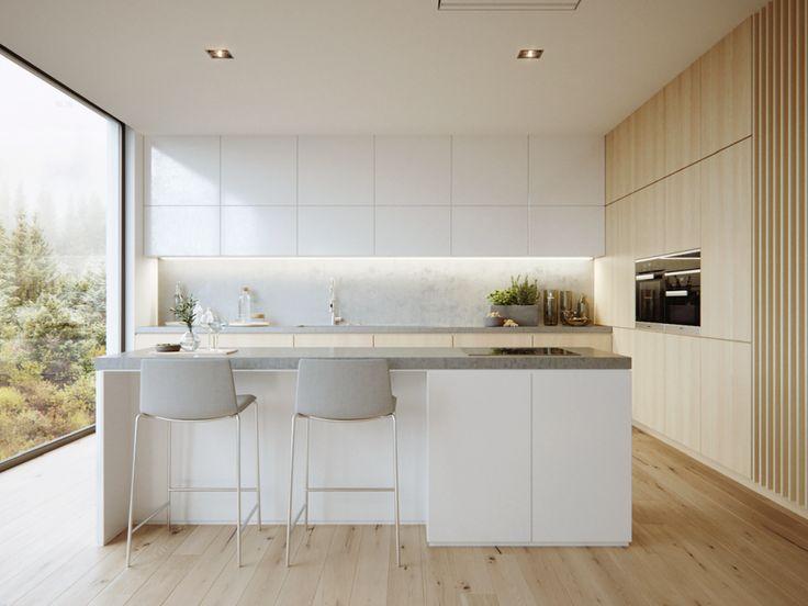 Szare hokery na metalowych nogach w kuchni w stylu minimalistycznym