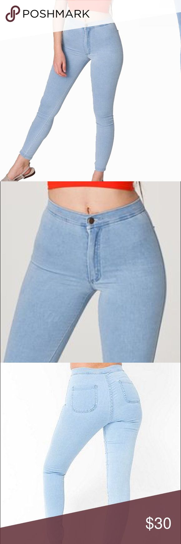 American Apparel Easy Jeans Excellent condition no flaws!  American Apparel Easy Jean in light blue!! Very high waisted.  Will fit a size 27/28 US womens American Apparel Jeans