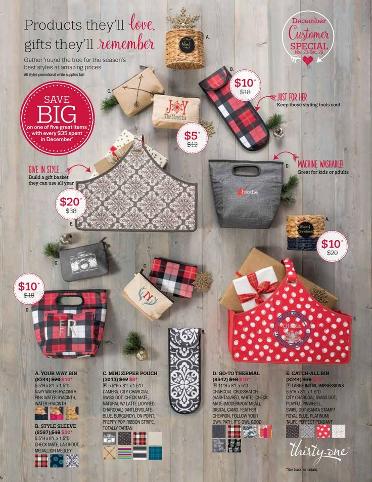 Thirty One Dec 2016 Monthly Customer Specials