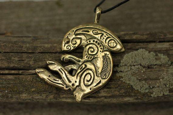 Rabbit Bunny bronze pendant necklace by DemiurgusDreams on Etsy