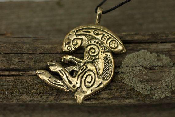 Rabbit Bunny bronze pendant necklace by DemiurgusDreams on Etsy