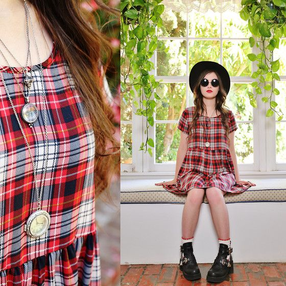 Steve Madden Ave A, Audrey Red Plaid, Urban Outfitters Clock Necklace, Lucky Brand Layered Necklace, Wide Brim Hat.