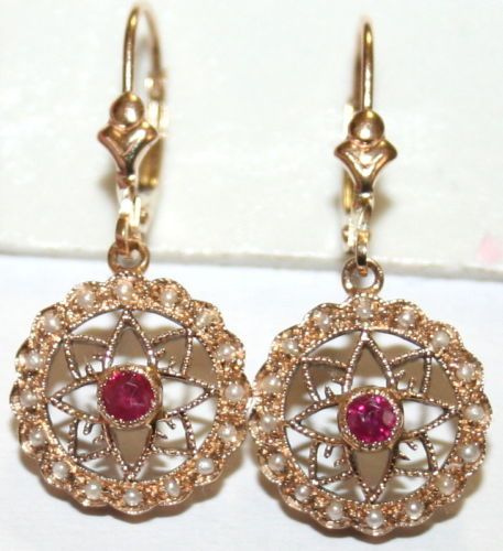 VINTAGE-9K-GOLD-20Ct-RUBY-32-SMALL-PEARLS-ROUND-FLOWER-FINE-DANGLE-EARRINGS