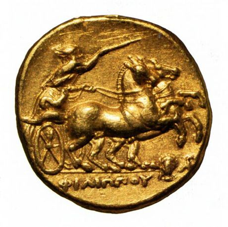 In 320 BC, Macedonian king Philip was posthumously honoured with this gold coin, showing a two-horse chariot and the name of the King.