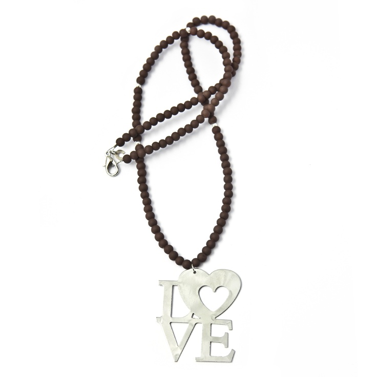 Brown Silver Love Pendant