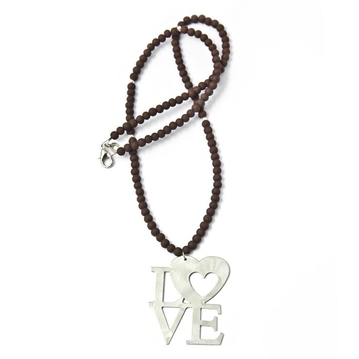 Brown Silver Love Pendant