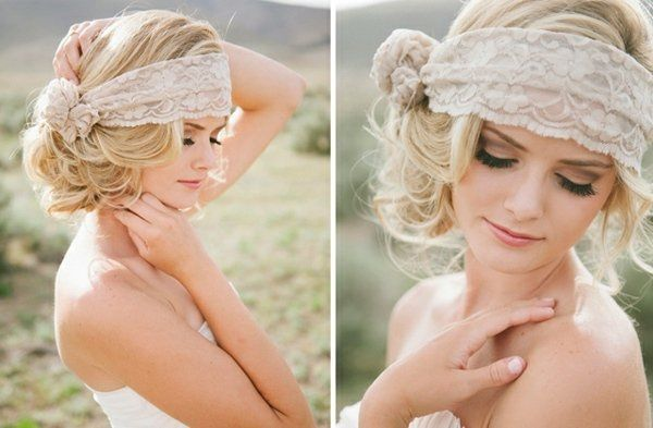 coiffure mariage vintage avec bandeau à cheveux en dentelle