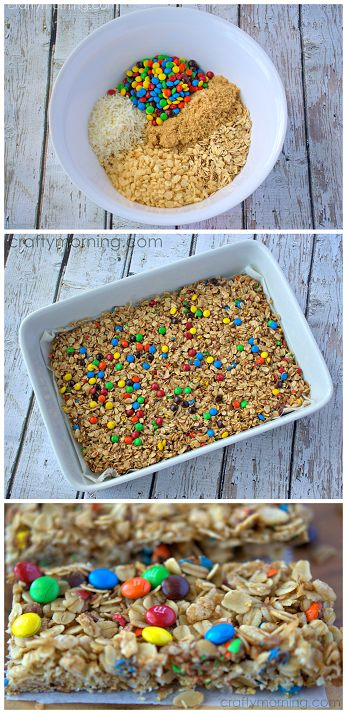 These mini m&m granola bars were a HIT with the kiddos! This recipe is a keeper. Maybe use chopped chocolate instead of mms
