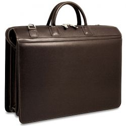 "Jack Georges Prestige Triple Gusset Top Zip Laptop Briefcase  A Saffian leather 17"" laptop briefcase."
