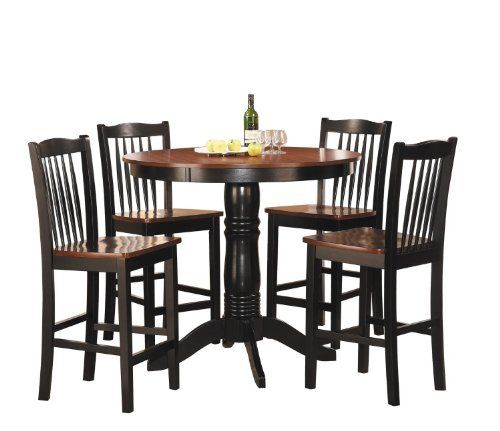 5 Piece Round Counter Height Dining Set In Oak Top And Black Base Finish By