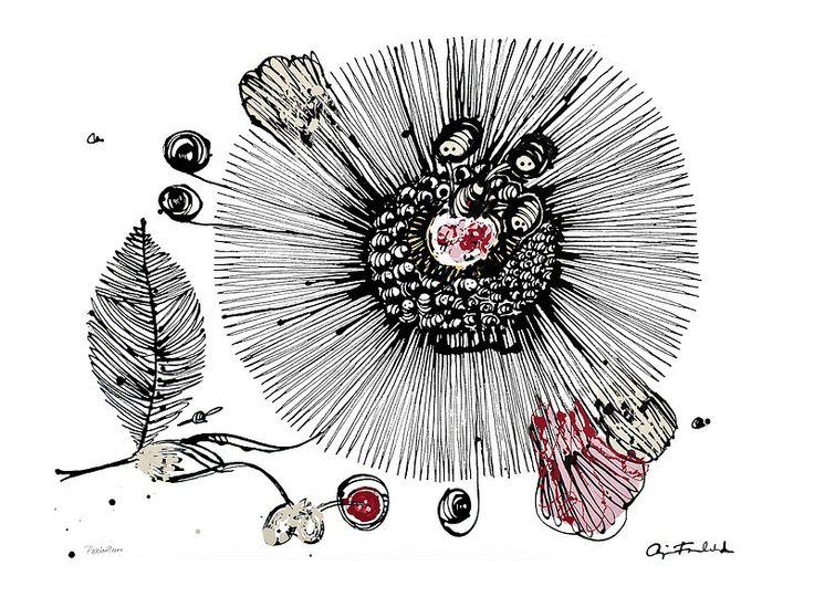 PASSION FLOWER Bläck och akryl på papper Cajsa Fredlund, cajfre@gmail.com