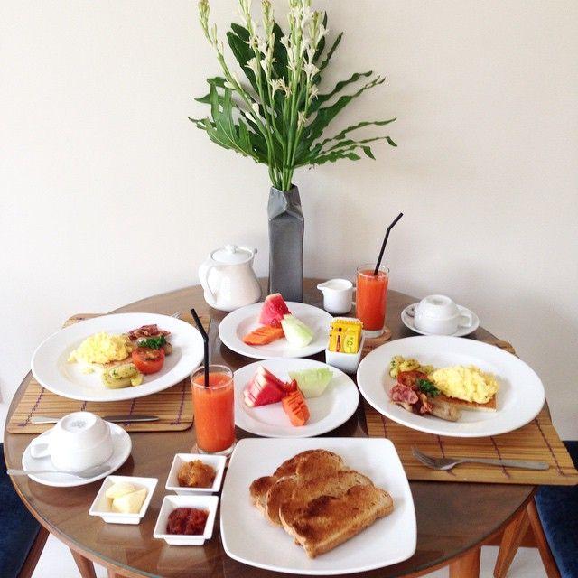 Breakfast at your private pool villa  #villa #balivilla #villas #island #seminyak #umalas #breakfast #foody #food #coffee #juice #bali