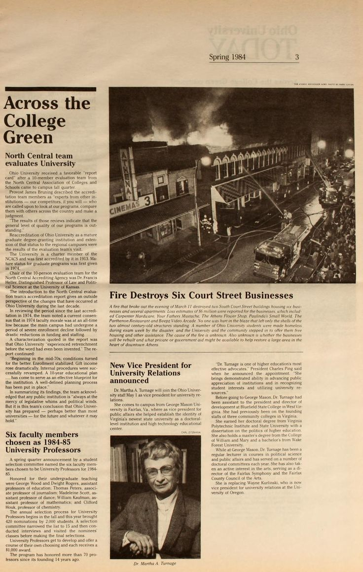 """Ohio University Today, Spring 1984 """"Fire Destroys Six Court street Businesses. On March 11, a fire broke out on Court Street destroying Carpenter Hardware, Your Fathers Mustache, The Athens Flower Shop, Paulina's Small World, The Parthenon Restaurant and Beepz Video Arcade. No one was hurt but a number of students living above the shops were left homeless during finals week."""" :: Ohio University Archives"""