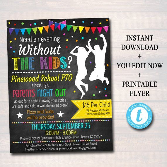Editable Parents Night Out Flyer Printable Pta Pto School Etsy Parent Night Charity Work Ideas Parents Appreciation