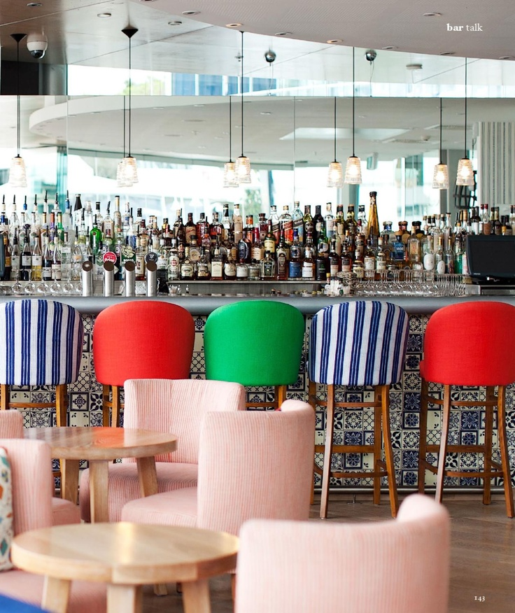 Very fun, very colorful restaurant bar.