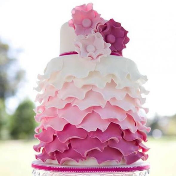 Show me your cake or dream cakes :  wedding cakes food lavender plum wedding wine Pink Leaf Cake