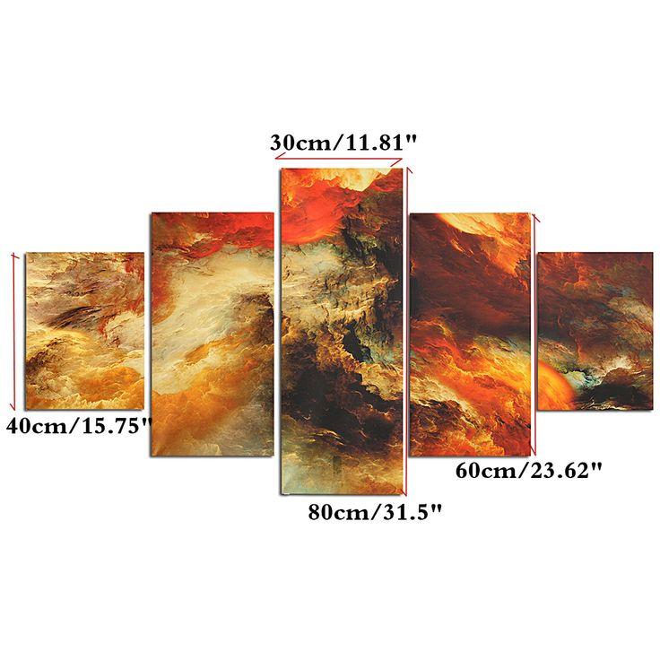 5PCS cúmulos arte realista Tatuajes de pared decoración de la lona Inicio - Newchic