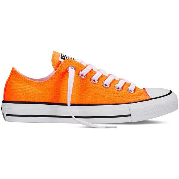 Converse Chuck Taylor All Star Neon – orange Sneakers ($55) ❤ liked on Polyvore featuring shoes, sneakers, orange, orange shoes, fluorescent shoes, converse sneakers, converse trainers and converse footwear