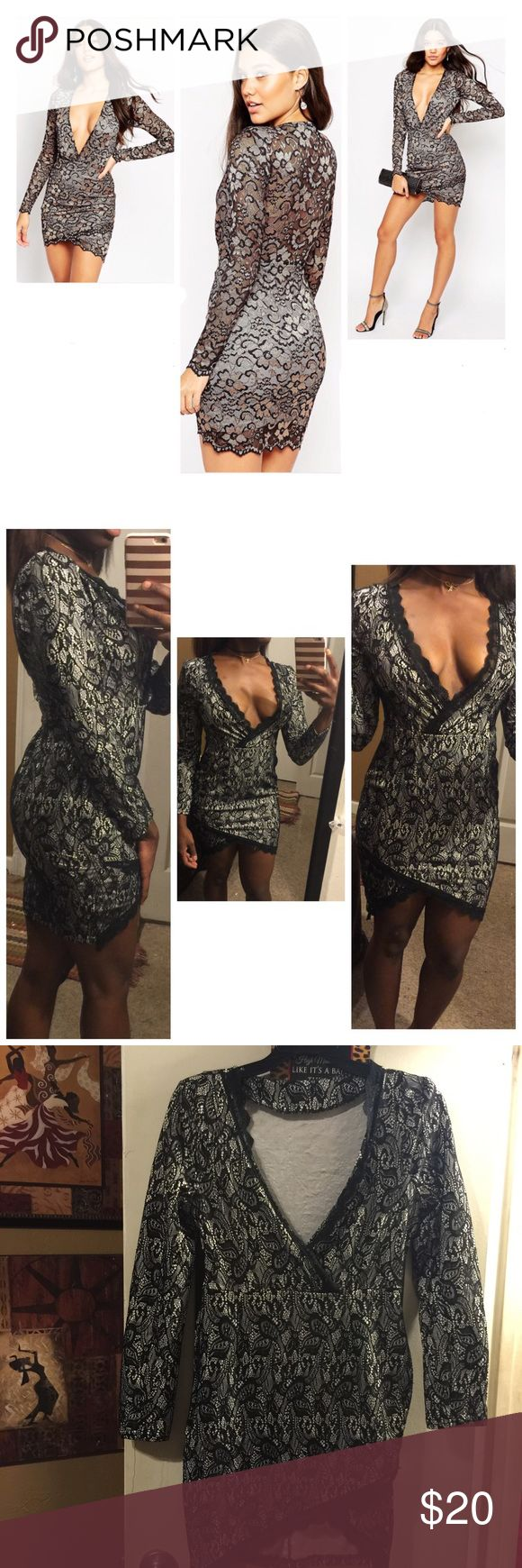 Black Lace Asymmetrical Hem Party Dress Never worn, bought at boutique. No brand or tag listed. Very sexy!! Fits a small ASOS Dresses