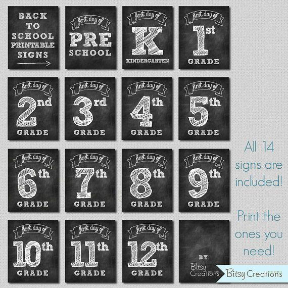 First Day of School Printable Signs INSTANT by BitsyCreations, $5.00