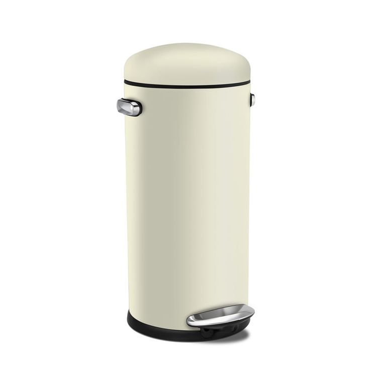 Simplehuman 30L Retro Fingerprint Proof Step Bin  Cream