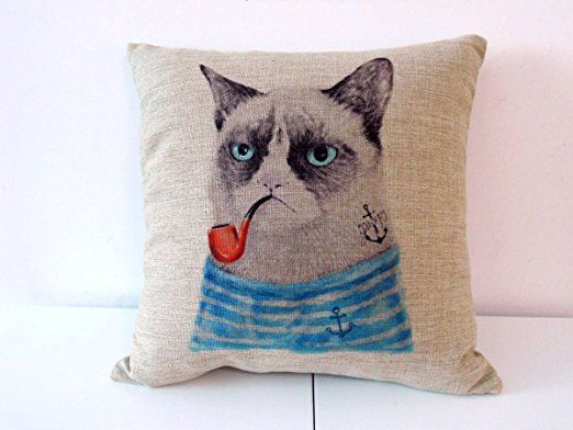 """Decorbox Cotton Linen Square Throw Pillow Case Decorative Cushion Cover Pillowcase for Sofa Cat with Pipe 18 """"X18 """""""