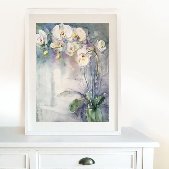 White Orchids. Original Floral Watercolor Painting. Wall Art.