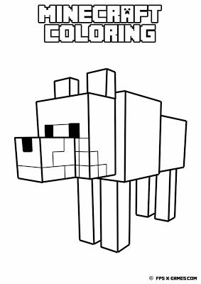 Printable Minecraft coloring - Tamed wolf.  Create your own Minecraft fan art.  #minecraft #coloring