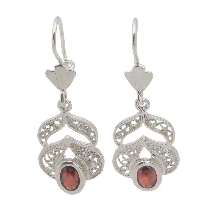 #Filigree #handcrafted #sterling #silver #earrings red oval #swarovski by enjewelrystore on Etsy #ebay