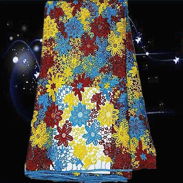 Slf128 мульти цвет летом стиль африканский шнур кружевной ткани для дам ну вечеринку и свадебные платья 5 ярды / lot